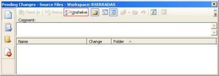 Localização do botão Unshelve na tela Pending Changes